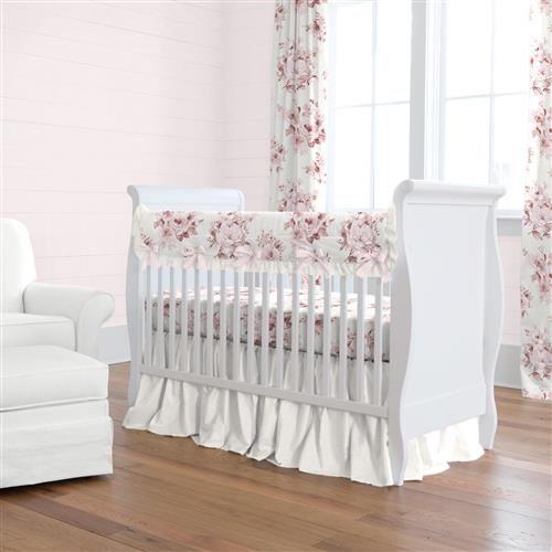 Rose Farmhouse Crib Bedding Carousel, Baby Girl Pink And Grey Cot Bedding