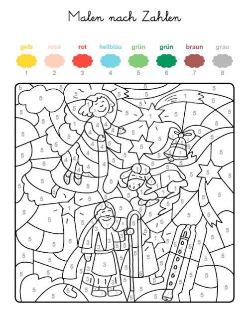 Malen Nach Zahlen Krippenszene Ausmalen Zum Ausmalen Malen Nach Zahlen Malen Nach Zahlen Kinder Vorschule Weihnachten