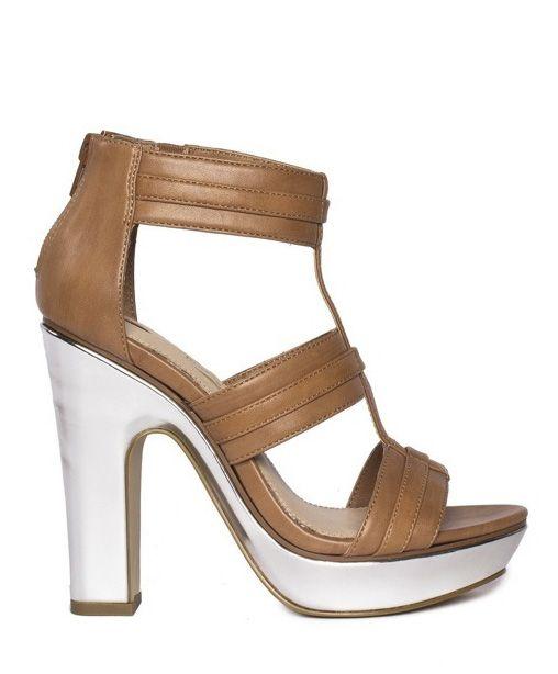 Camel gladiator \\ silver block heel \\ SHOE SEPARATES