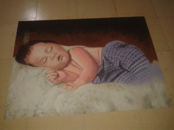 Cute babby sleeping rangoli