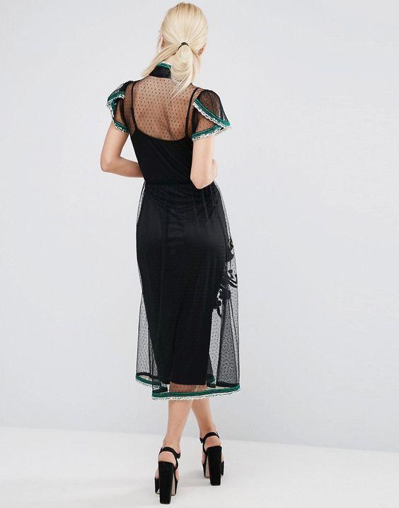 Imagen 2 de Vestido de malla con bordado de lunares y ribete de lentejuelas de ASOS