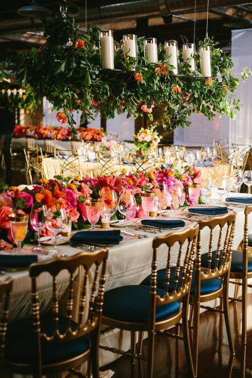 Wedding reception details - bright colors, hanging centerpieces | Estera Events | Morgan Manufacturing Wedding