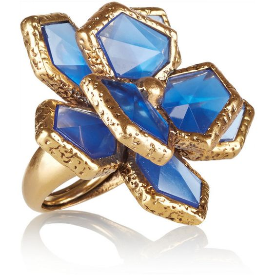 Oscar de la Renta Gold-plated resin ring ($290) ❤ liked on Polyvore featuring jewelry, rings, accessories, joias, blue, blue rings, gold plated ring, oscar de la renta, oscar de la renta jewelry and bezel ring