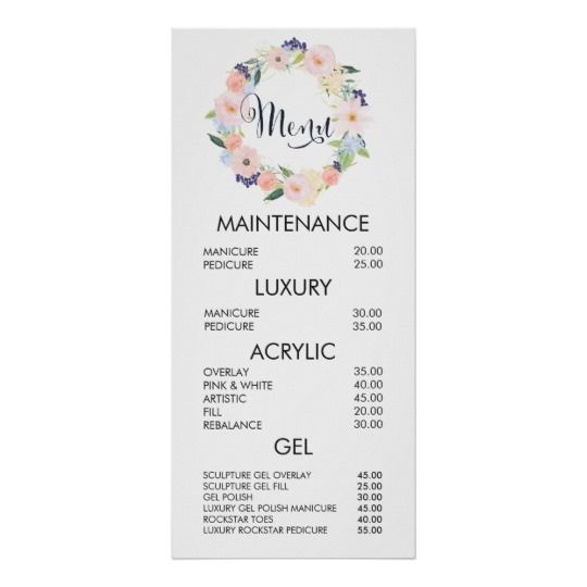 Floral Wreath Salon Menu Price List Wall Poster Zazzle Com In 2020 Salon Menu Nail Salon Decor Nail Salon Prices