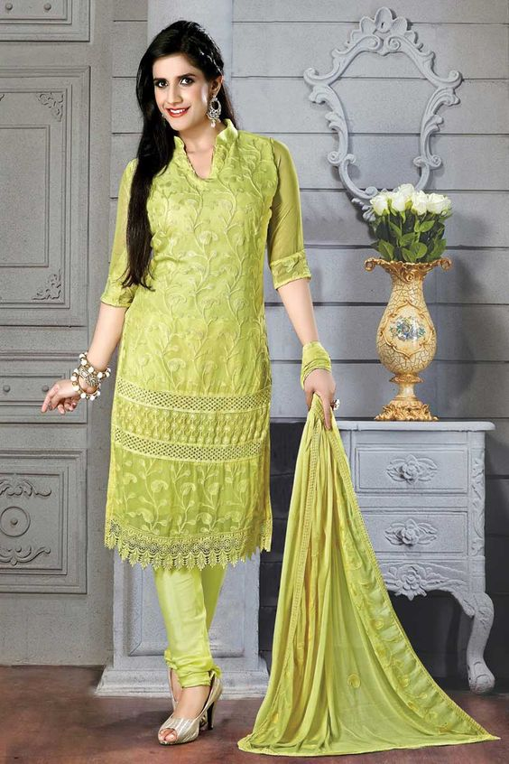 Light green Ladies Suits Online Price:-£35.00 Light green, Chiffon