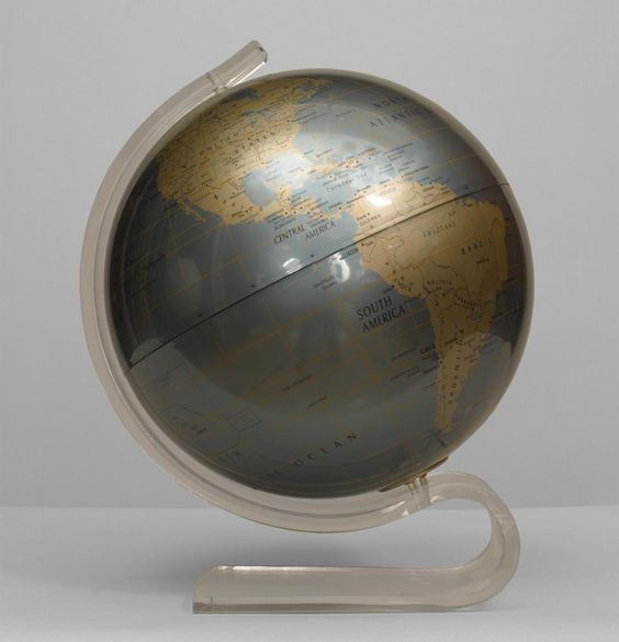 Art Moderne/1940s American clock/mechanical globe of the world metal
