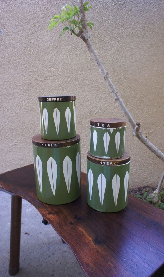 Vintage Green Cathrineholm Kitchen Storage Canisters, lotus countertop