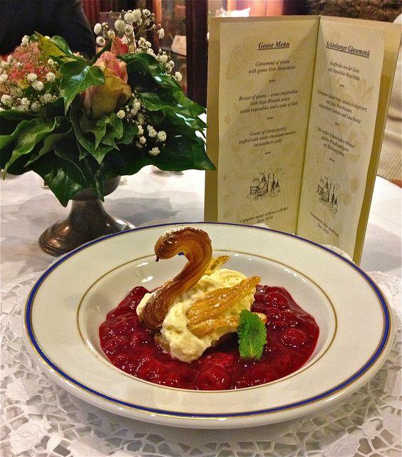 Cooked red berries with vanilla ice-cream an a swan Rote Grütze mit Vanilleeis im Schwan