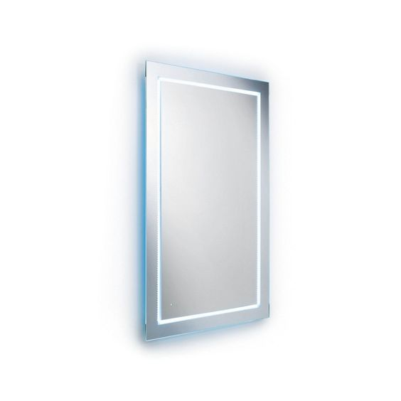Elegant modern high-end luxurious designer quality crafted vertical bathroom wall mirror with LED lighting.