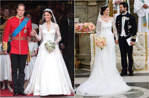 """Kate Middleton oder Sofia Hellqvist: Wer war die hübschere Braut? Mehr Outfit-Vergleiche der beiden Brünetten gibt""""s in der Bilderstrecke! Foto: dpa/az"""