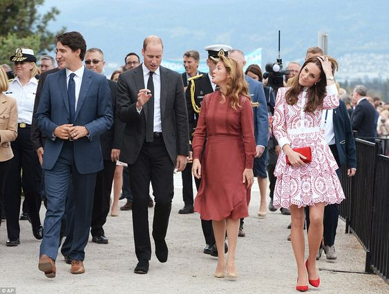Mr Trudeau, Prince William, Mrs Gregoire Trudeau and the Duchess of Cambridge take a walk at the Coast Guard station