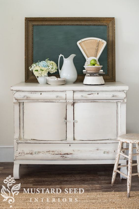 Vintage French Soul ~      Farmhouse White Buffet - Miss Mustard Seed