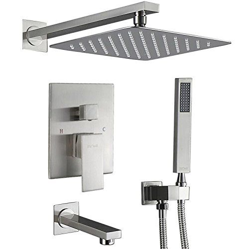 Esnbia Shower System Shower Faucet Set With Tub Spout And 10 Rain Shower Head Wall Mounted Shower Set All Met Shower Faucet Sets Shower Faucet Shower Systems