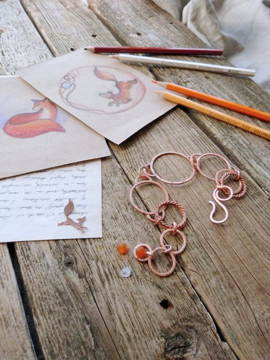 I missed this beautiful character - a fox! It will look great in copper. I'll start with … bracelet! Ursula Jewelry