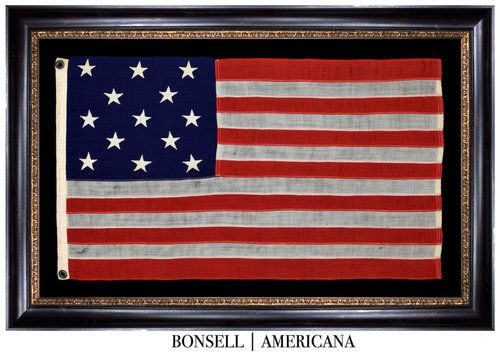 Elongated 13 Star Antique Us Flag With A 3 2 3 2 3 Pattern Circa 1895 1926 Bonsell Americana Flag Flag Maker Antiques