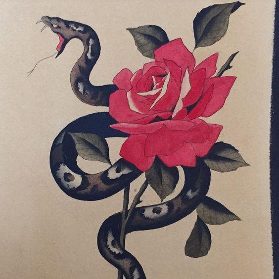 #maxbrain #traditional #tattoo #flash #snake #serpente #rose #rosa