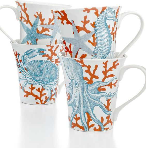 """222 Fifth Set of 4 Coastal Life Assorted Mugs"""