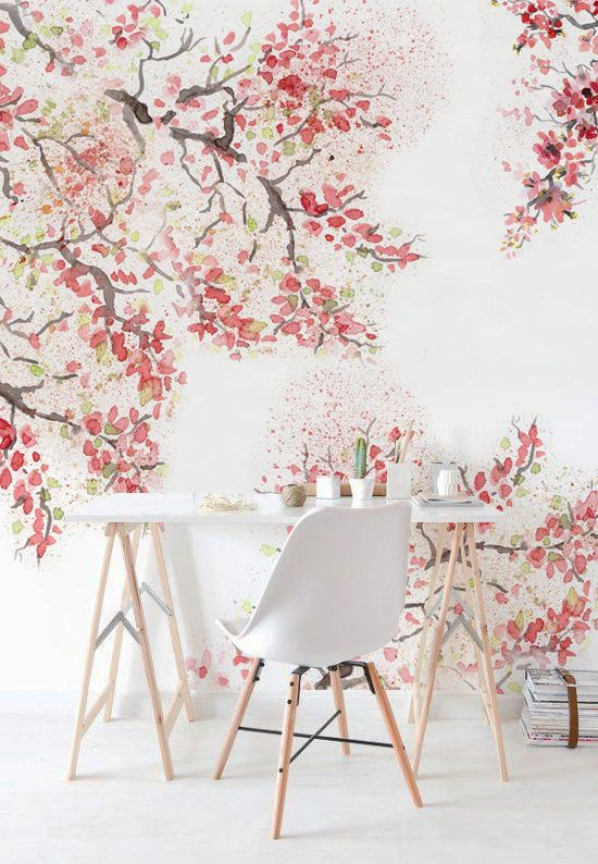 Spring Cherry Blossom Removable Wallpaper Watercolor Wall Etsy Cherry Blossom Wallpaper Decor Wall Murals