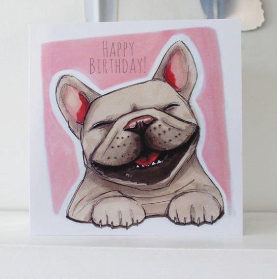 Frenchie feliz para un feliz cumpleaños!  Esta tarjeta es una impresión de alta calidad de mi ilustración original del bulldog francés.  • Tamaño: 15
