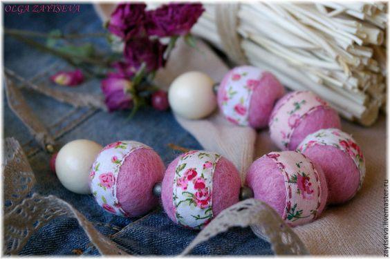 """Бусы """"Лето в цветочек"""" - розовый,светло-розовый,нежно-розовый,мелкий цветочек"""