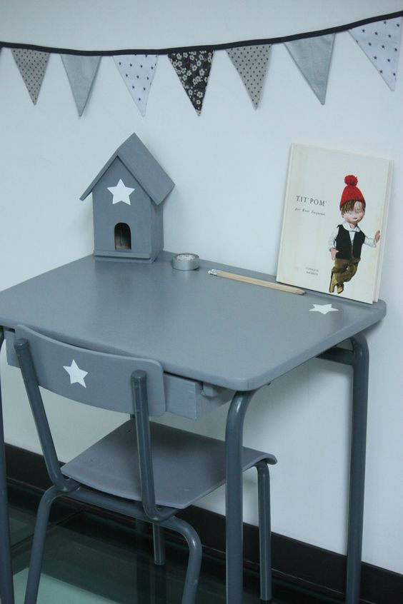 Relooking dun bureau pour enfant en bois  relooking  ~ Customiser Un Bureau En Bois