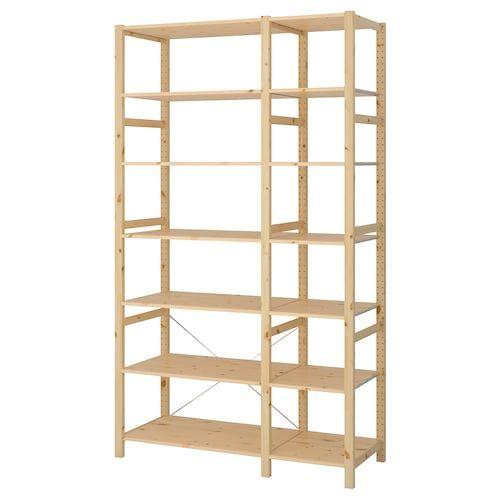 Ivar 2 Section Shelving Unit Pine 68 1 2x19 5 8x89 In 2020 Shelving Unit Shelves Ikea