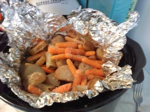 Line your crockpot with foil. Balances the heat and makes for easier clean up. Good bye plastic liners! (saw a video of this from America's Test Kitchen, and then found this photo).