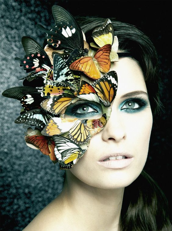 Fairytale fashion fantasy / karen cox. ♔ Single Image - Butterfly mask & Make-up but covered in Gryphons/birds/lions