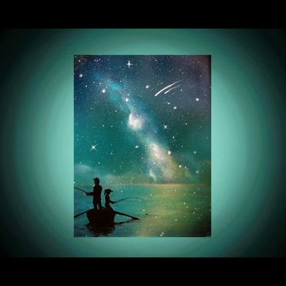 Space Painting - Father Daughter Silhouette Art  Painting  Son  by KanoelaniArt