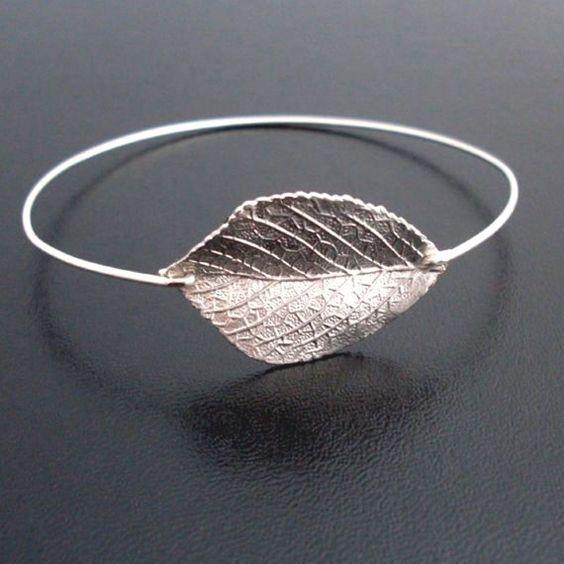 Sterling Silver Initial Crystal Birthstone Mother Gift Monogram Silver Aspen Leaf Mom Bangle Silver Personalized Real Leaf Bracelet