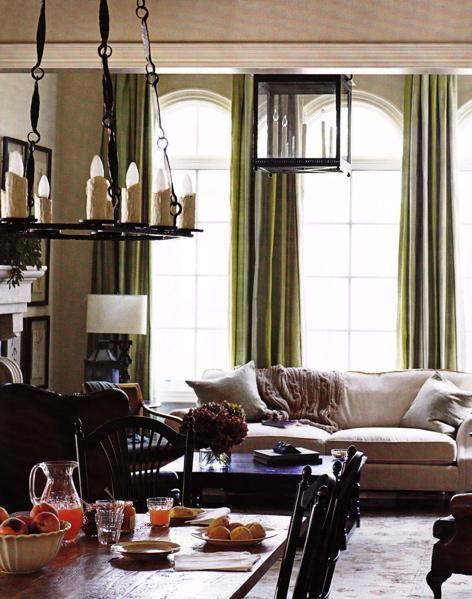 Living rooms ivory oatmeal tan beige black green silk drapes rustic iron chandelier pendant for Black drapes for living room