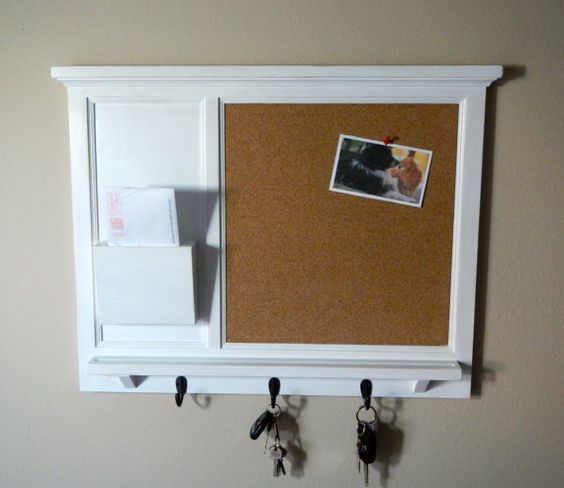 Cork Board Mail Organizer Letter Holder Key Coat Hat Rack Shabby Chic Home Decor