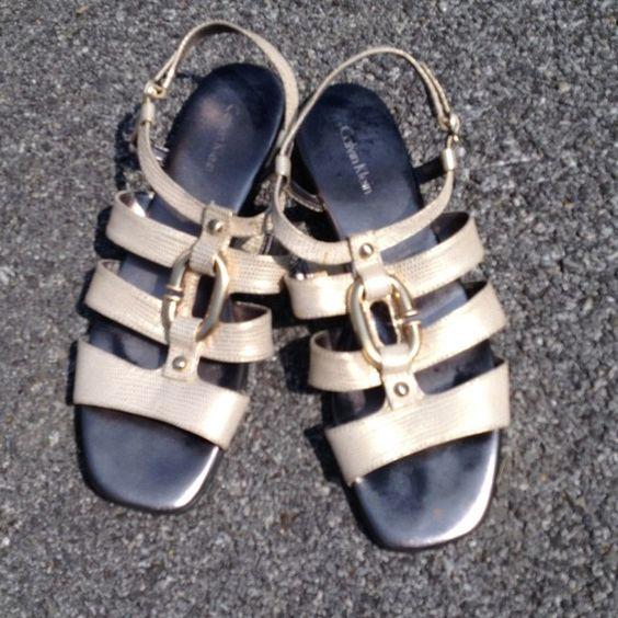 Calvin Klein sandals Gold snake skin print with gold metal Calvin Klein Shoes Sandals