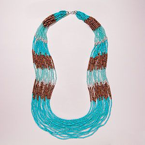 Turquoise and Wood Seed Bead Necklace | World Market