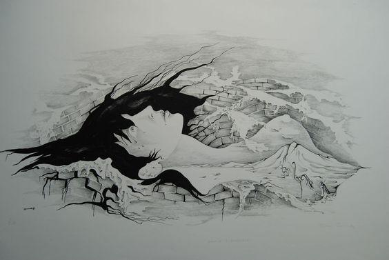 Friedel Peisert Aquis submersus Handsigniert BFK 1973 Phantastischer Realismus