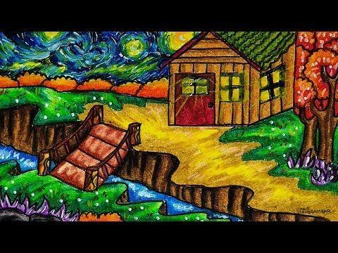 Cara Menggambar Rumah Sederhana Dengan Pemandangan Hutan Youtube Cara Menggambar Pemandangan Seni