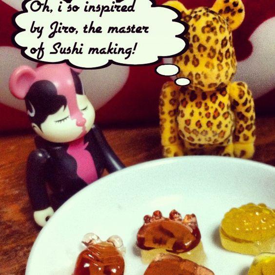 "Bearbricks with ""sushi"" gummies!"