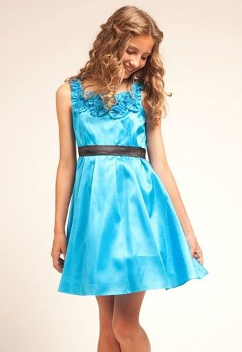 Turquois Teffeta Floral Detail Trim Neckline Short Jr. Bridesmaid Dress - Flower Girl Dresses