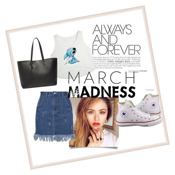 """Untitled #51"" by magi-418 ❤ liked on Polyvore featuring Converse, Yves Saint Laurent and hightops"