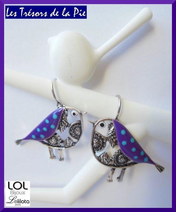Boucles d oreilles LOL BIJOUX - OISEAU Piaf - Argenté & violet - Lolilota…