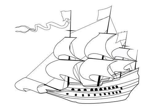 kleurplaat zeilschip 17e eeuw history gouden eeuw