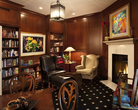 Fascinating Study Room Decor Ideas With Corner Fireplace