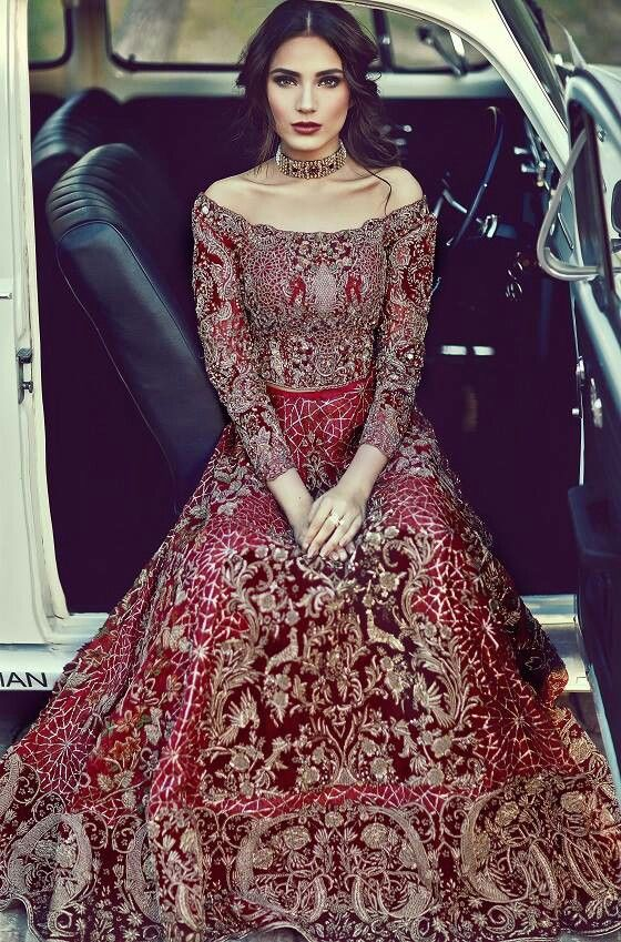 Crop top red lehnga for brides