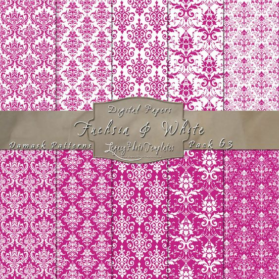 Damask Designs in Fuchsia & White. Click the image to purchase the displayed paper pack OR click the following link to see the other available colors - http://www.legacyphototemplates.com/products-page/pattern-pack-63/  $3.95 #papers, #paper pack, #digital, #backgrounds, #patterned, #patterns, #downloadable, #printable, #instant, #12 x 12 paper, #pink, #fuchsia, #white, #damask