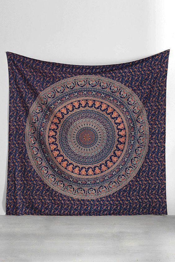 Hippie indien grande tapisserie tenture coton par KaftanBeauty