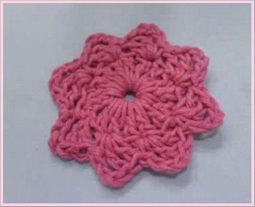 Flor de Crochê com Oito Pontas