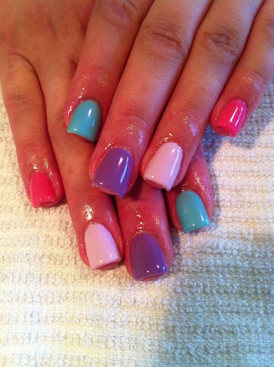 Pastel Gel Nails in CND Shellac