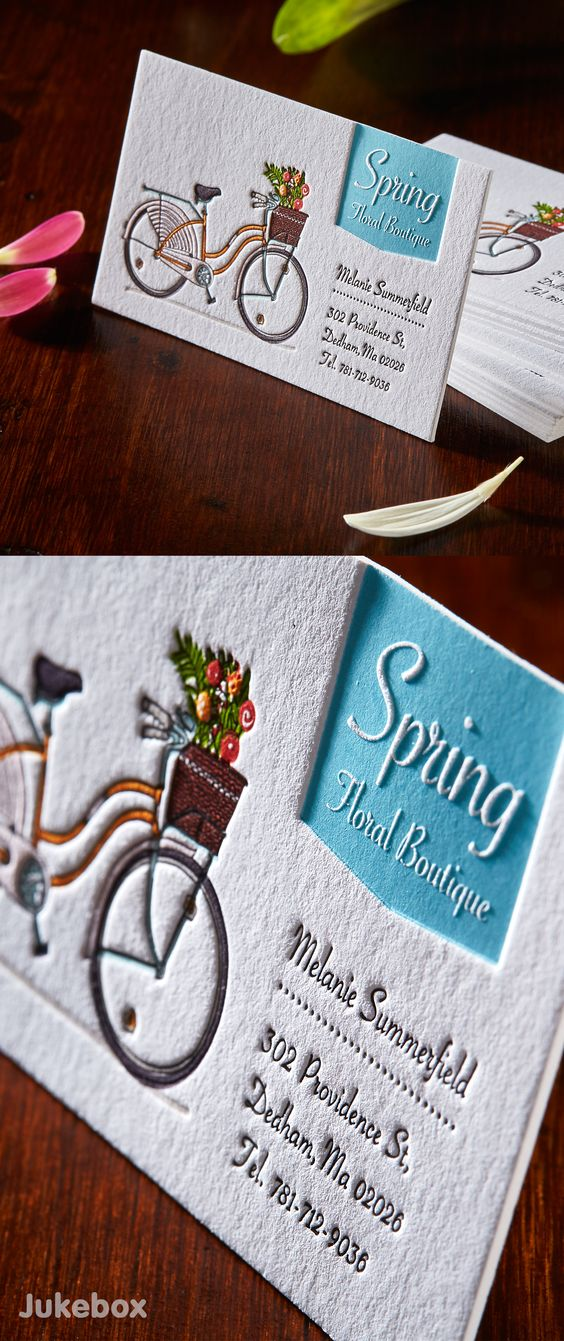 A cute Letterpress business card produced on Cotton paper