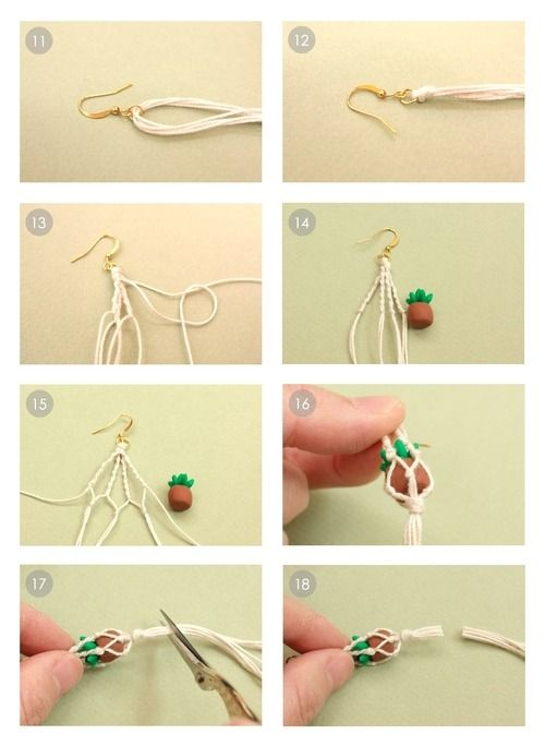 ROSE macrame hanging plant earrings Clay earrings