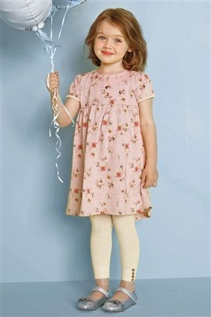 Next Girls Pale Pink Ditsy Dress And Oatmeal Footless Tights Set